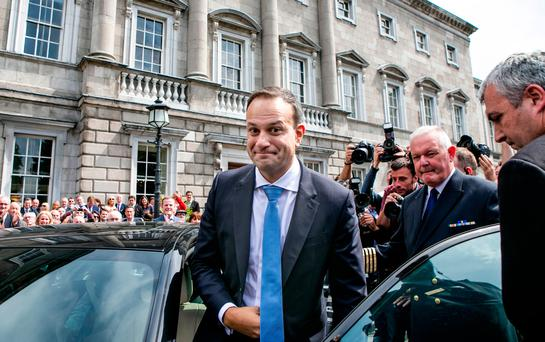In the era of 'new politics', Independent TDs Michael Healy-Rae and Mattie McGrath managed to slip past security at Coppers to celebrate with Leo Varadkar. Picture: Kyran O'Brien