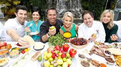 Chefs at the Taste of Dublin festival (left to right) Stuart O'Keeffe, Sharon Hearne Smith, Kevin Dundon, Taste MD Avril Bannerton, Edward Hayden and Aoife Noonan