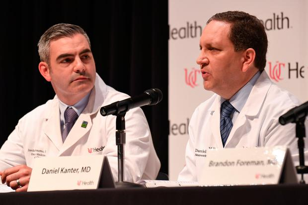 Dr. Daniel Kanter (R), Medical Director of the Neuroscience Intensive Care Unit, speaks about the statement of the condition and treatment of Otto Warmbier during a news conference at the University of Cincinnati Medical Center in Cincinnati, Ohio, U.S., June 15, 2017. REUTERS/Bryan Woolston