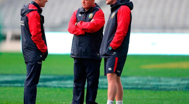 Lions coaches Rob Howley, Warren Gatland and Graham Rowntree
