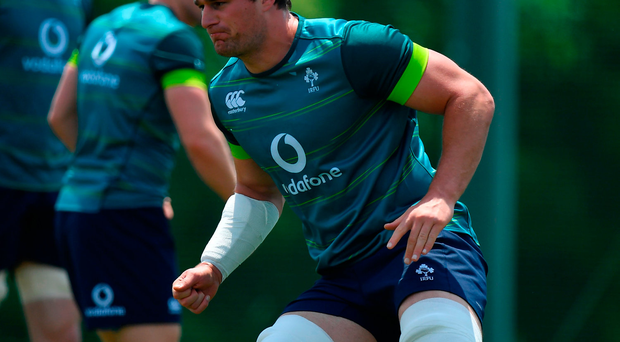 Rhys Ruddock of Ireland during an Ireland rugby squad training session in Tokyo