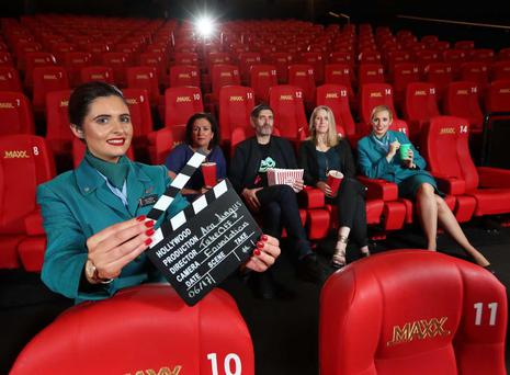 Pictured from left to right at the launch of the Aer Lingus Irish Filmmaker Competition is Aer Lingus cabin crew member Amy O'Brien with competition judging panellists Dearbhla Walsh, Mark O'Halloran and Neasa Hardiman and Aer Lingus cabin crew member Jessica England at Omniplex Rathmines.