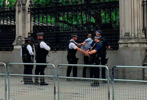 Police detain a man outside the Palace of Westminster, London. Photo: Harriet Line/PA Wire