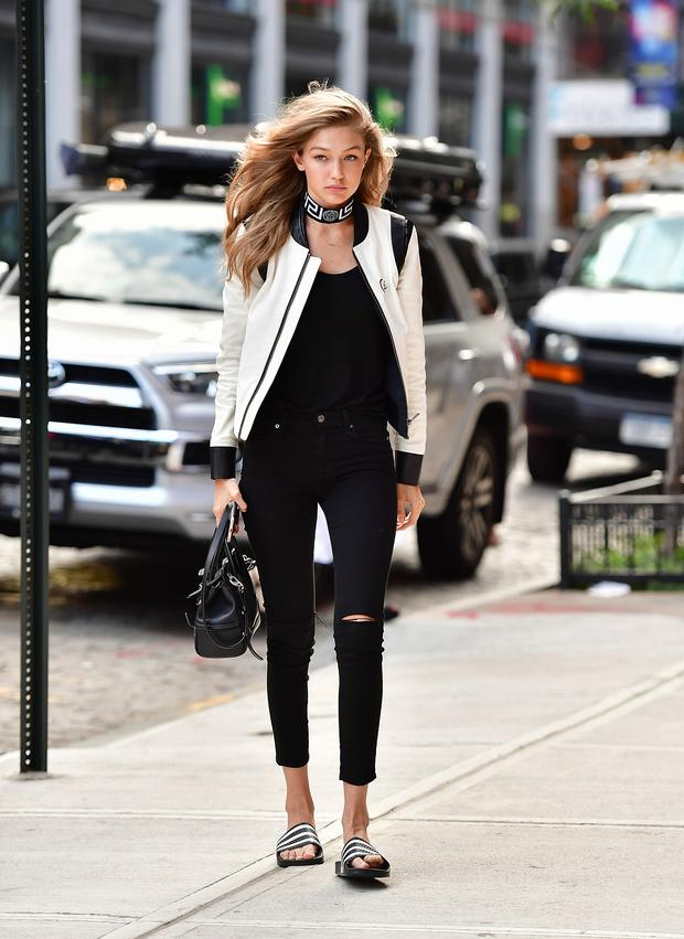 Gigi Hadid seen on the streets of Manhattan on July 12, 2016 in New York City. (Photo by James Devaney/GC Images)