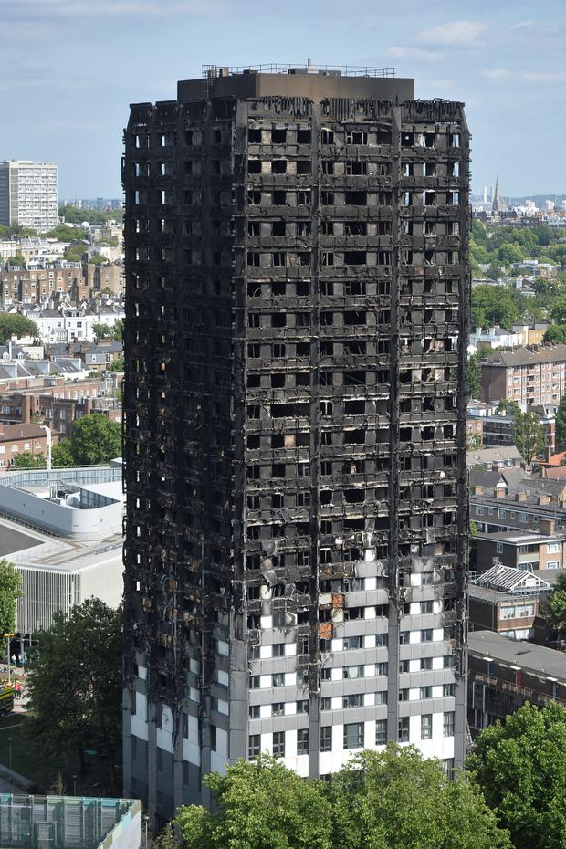 Extensive damage is seen to the Grenfell Tower block which was destroyed in a disastrous fire, in north Kensington, West London, Britain June 16, 2017. REUTERS/Hannah McKay
