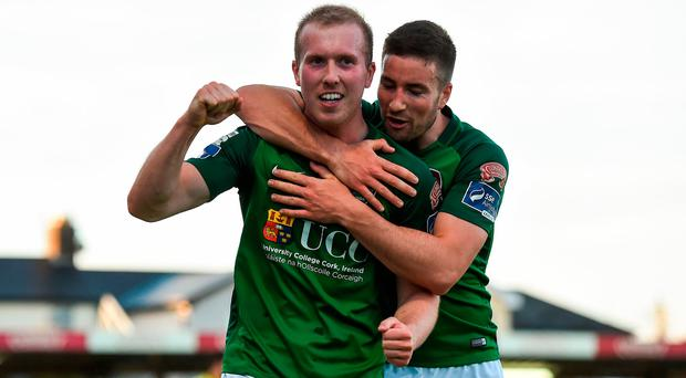Stephen Dooley of Cork City celebrates with team mate Gearóid Morrissey after scoring his side's second goal