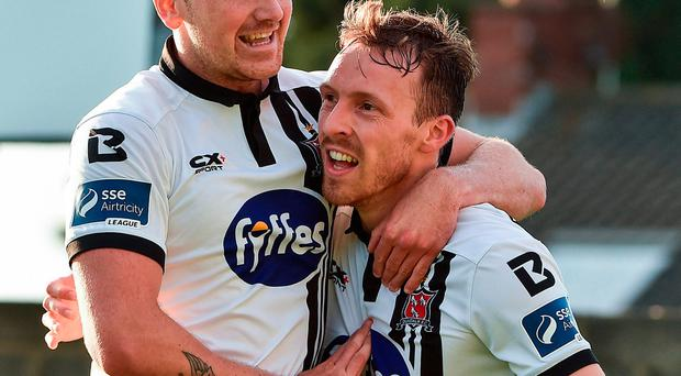 David McMillan, right, of Dundalk celebrates after scoring his side's first goal with teammate Patrick McEleney
