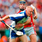 John Mullane, Waterford, in action against Ronan Curran, Cork. Guinness Munster Senior Hurling Championship Semi-Final, Cork v Waterford, Semple Stadium, Thurles, Co. Tipperary. Photo: Sportsfile