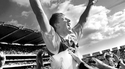 Brian Whelahan is hoisted on the shoulders of Offaly supporters after his man of the match display in the 1998 All-Ireland SHC final. Photo: David Conachy