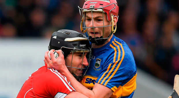 Mark Ellis (left), getting to grips with Sean Curran the last day, hurled a lot of ball against Tipperary but will need to be more vigilant against Waterford. Photo: Sportsfile