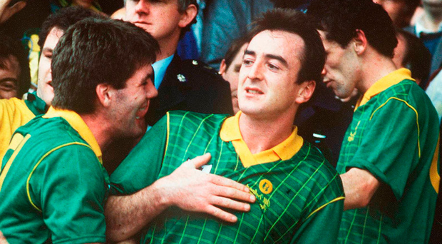 Colm Coyle (centre) celebrating the 1988 All-Ireland final replay victory over Cork with PJ Gillic and David Beggy (right). Photo: Sportsfile