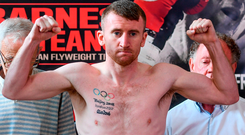 Paddy Barnes weighs in ahead of his flyweight bout against Silvio Olteanu at the Battle of Belfast fight night at the Ulster Hall tonight. Photo: Sportsfile