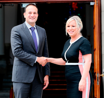 Leo Varadkar with Sinn Féin leader in the North Michelle O'Neill Photo: Brian Lawless/PA Wire