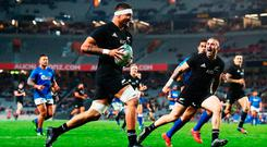 Vaea Fifita of the All Blacks runs over to score a try. Photo: Hannah Peters/Getty Images