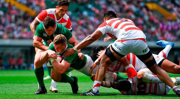 Dan Leavy of Ireland scores his side's second try