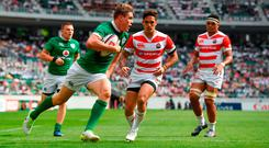 Garry Ringrose of Ireland runs in to score his side's sixth try