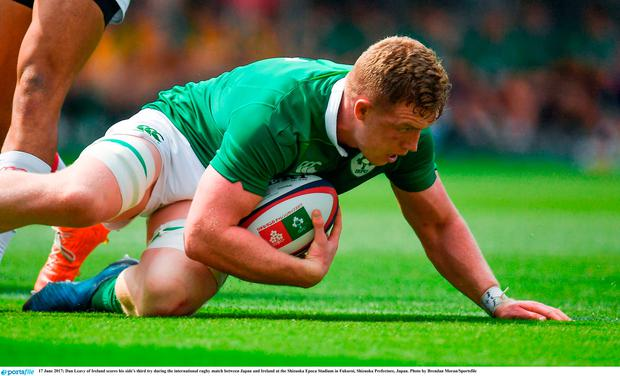 Dan Leavy of Ireland scores his side's third try