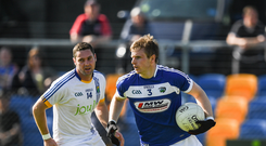 Mark Timmons of Laois in action against Seanie Furlong of Wicklow during the GAA Football All-Ireland Senior Championship Round 1A match between Wicklow and Laois at Joule Park in Aughrim, Co Wicklow. Photo by Ray McManus/Sportsfile