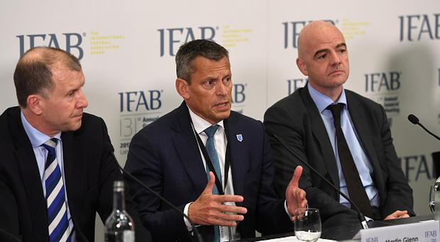 The Chief Executive Officer of The FA, Martin Glenn (C) speaks during the IFAB Annual Meeting at Wembley Stadium on March 3, 2017 in London, England. (Photo by Michael Regan - The FA/The FA via Getty Images)
