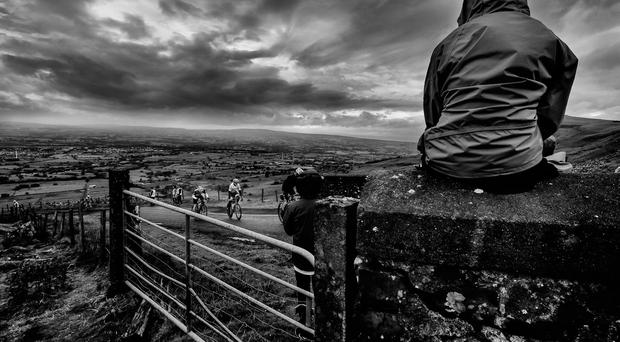 Man of Sperrin competitors tackle the brutal gradient of Benbradagh. Photo: Bruno Tamiozzo