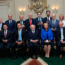 In crowd: President Michael D Higgins (front centre) with newly-elected Taoiseach, Leo Varadkar, to his right, pictured with members of Mr Varadkar's first Cabinet in the Dail last week. Photo: Maxwells Dublin