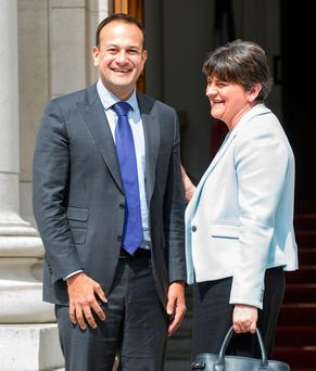 Taoiseach Leo Varadkar met with DUP leader Arlene Foster at Government Buildings. Photo: www.doug.ie