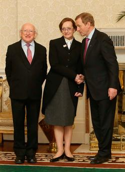 Meeting: President Michael D Higgins (left), Attorney General Maire Whelan and ex-taoiseach Enda Kenny