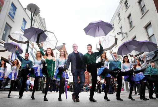 Umbrellas and a Brolly: Our columnist Joe Brolly, who is also a CFI ambassador, joined the 'Riverdance' troupe on Grafton Street, Dublin, as the show announced a partnership with its chosen charity, Cystic Fibrosis Ireland. 'Riverdance' is returning to the Gaiety Theatre on Thursday for a summer run, which finishes on September 3