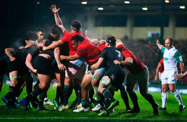 Referee Jaco Peyper of South Africa awards a penalty try as the Lions drive towards the Maori line. Photo: Getty