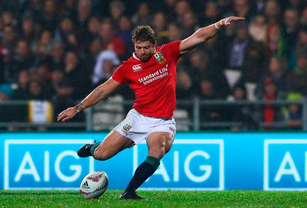 Leigh Halfpenny of the Lions kicks a peanlty. Photo: Getty