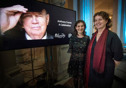 Anthony Cronin's wife Anne Haverty and daughter Sarah Cronin at 'Anthony Cronin: A Celebration' in City Hall, Dame Street Picture: Fergal Phillips