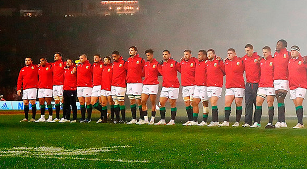 The Lions stand ahead of their match against the New Zealand Maori. Photo: Hannah Peters/Getty Images