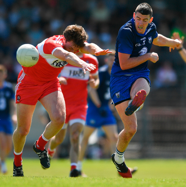 Paul Whyte of Waterford in action against James Kielt of Derry during the GAA Football All-Ireland Senior Championship Round 1A match between Waterford and Derry at Fraher Field in Dungarvan, Co Waterford. Photo: Sportsfile