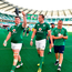 Ireland players, from left, Dave Kilcoyne, Kieran Treadwell and Luke Marshall leave the pitch after the international rugby match between Japan and Ireland