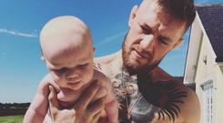 Conor McGregor pictured with his son Conor Jack enjoying the sunshine Instagram: @thenotoriousmma