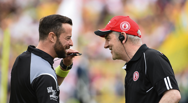 Referee David Gough along with Tyrone manager Mickey Harte before the Ulster GAA Football Senior Championship Semi-Final match between Tyrone and Donegal at St Tiernach's Park in Clones, Co. Monaghan. Photo by Oliver McVeigh/Sportsfile