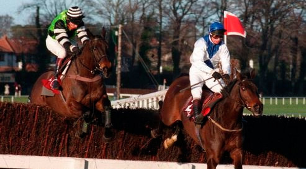 Danoli and Tom Treacy (right) see off Jodami and Mark Dwyer in a thrilling renewal of the Leopardstown Gold Cup 20 years ago, when thousands flocked to the track. Officials will be hoping the new Festival can attract similar crowds. Photo: Brendan Moran/Sportsfile