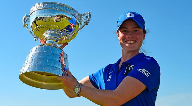 Leona Maguire poses with the trophy after winning the Ladies British Open Amateur Championship. Photo by Richard Martin-Roberts/R&A/R&A via Getty Images