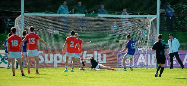 Barry McKeon scores Longford's second goal Photo: Oliver McVeigh/Sportsfile