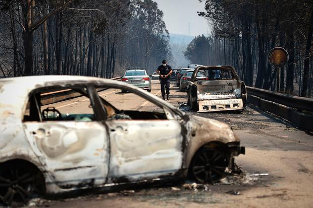 A policeman walks on a road past burnt cars in Figueiro dos Vinhos Photo: Getty