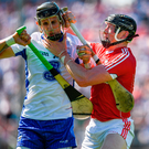 Cork's Damien Cahalane grapples with Waterford's Maurice Shanahan during yesterday's Munster SHC semi-final Photo: Ray McManus/Sportsfile