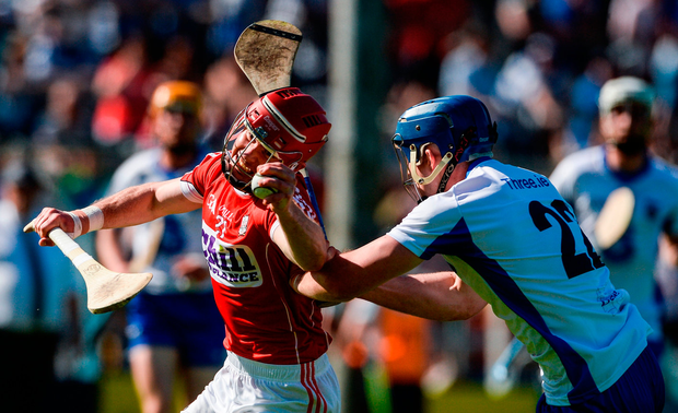 Daniel Kearney of Cork in action against Patrick Curran of Waterford Photo: Piaras Ó Mídheach/Sportsfile