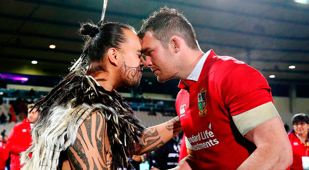 Peter O'Mahony is presented with a Taiaha, a traditional Maori weapon, after captaining the Lions to a victory over the New Zealand Maori in Rotorua on Saturday Photo: Hannah Peters/Getty Images