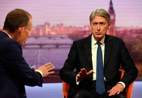 UK Chancellor Philip Hammond on the 'Andrew Marr Show'