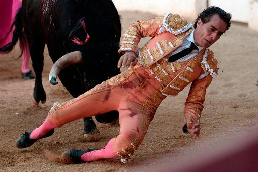Spanish matador Ivan Fandino is impaled by a Baltasar Iban bull during a bullfight at the Corrida des Fetes on June 17, 2017 in Aire sur Adour, southwestern France. / AFP PHOTO / IROZ GAIZKAIROZ GAIZKA/AFP/Getty Images