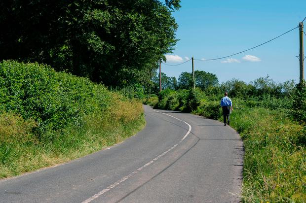 The rural road where Brendan and Cadi Lennon were hit by a car in Urglin, Co. Carlow.Photo: Doug O'Connor