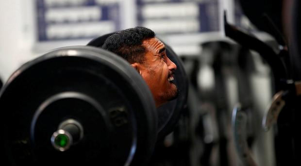 Jerome Kaino of the New Zealand All Blacks during a gym session at Les Mills in Auckland, New Zealand.