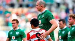 Devin Toner of Ireland with Fumiaki Tanaka of Japan after the international rugby match between Japan and Ireland at the Shizuoka Epoca Stadium in Fukuroi, Shizuoka Prefecture, Japan. Photo by Brendan Moran/Sportsfile