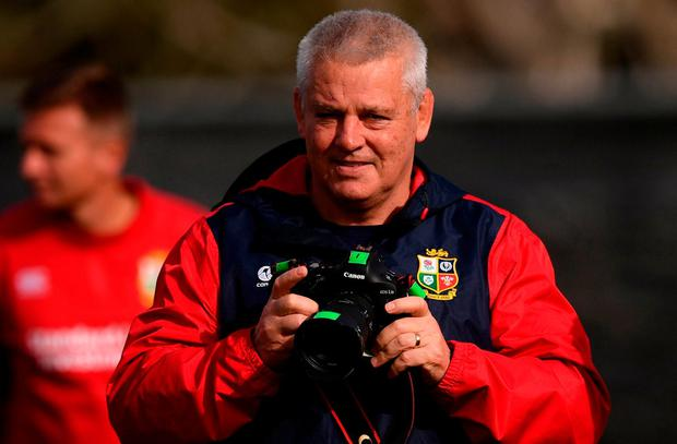 British and Irish Lions head coach Warren Gatland during the captain's run at Beetham Park in Hamilton, New Zealand. Photo by Stephen McCarthy/Sportsfile