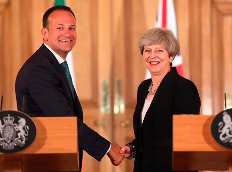 Prime Minister Theresa May with new Taoiseach Leo Varadkar during a joint press conference following a meeting at 10 Downing Street, London Credit: Philip Toscano/PA Wire